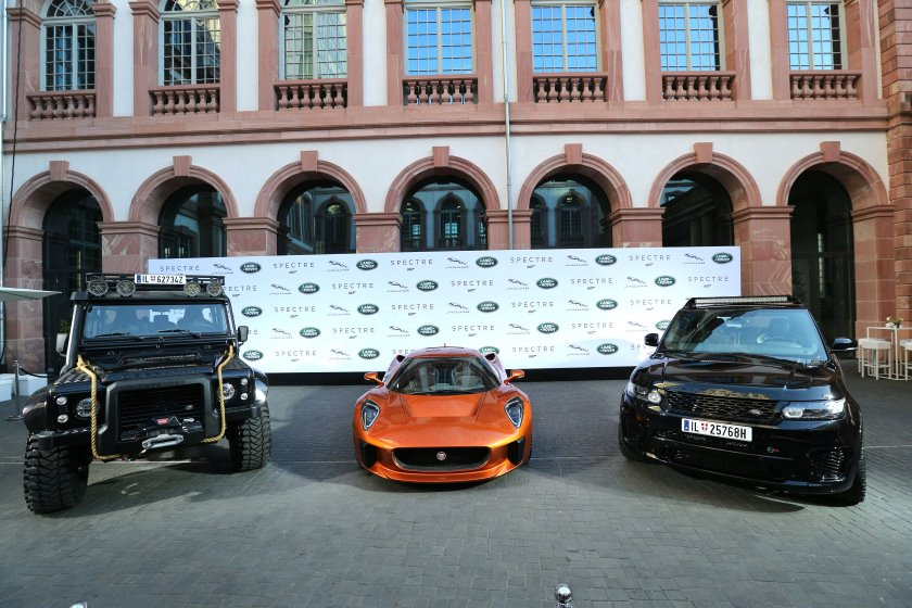 Jaguar Land Rover previews <i>Spectre</i> cars, with Naomie Harris, Dave Bautista, David Gandy, Sonya Kraus