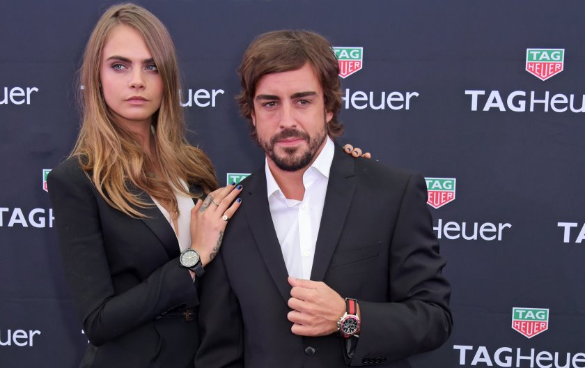 Cara Delevingne, Fernando Alonso, Poppy Delevingne, Mark Ronson on board TAG Heuer's Monaco Grand Prix party