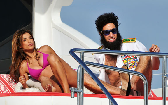 Sacha Baron Cohen promotes <i>The Dictator</i> in Cannes with help from Elisabetta Canalis and Sasha Volkova